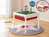 UTEX 2 en 1 construcción del Juego de niños Mesa con cajones de Almacenamiento y Construido en Placa (Blanco con Rojo drwaer)