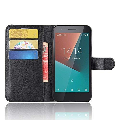 SMTR Vodafone Smart E8 Wallet Tasche Hülle - Ledertasche im Bookstyle in Schwarz - [Ultra Slim][Card Slot][Handyhülle] Flip Wallet Case Etui für Vodafone Smart E8