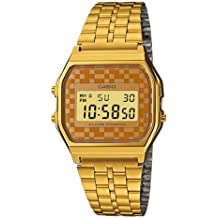 CASIO A159WG-9 - Reloj de cuarzo vintage, para hombre, color naranja y dorado