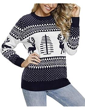 Aleumdr Mujer Suéter de Navidad Pullover de Punto Mangas largas Jersey Cuello Redondo para Mujer Size S-XXL