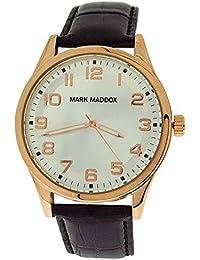 Mark Maddox caballeros esfera plateada y de color marrón de la correa de reloj de pulsera de efecto cocodrilo HC3005-95