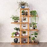 Edge to Portacenere da Fiori Bamboo Flower Shelf Mobile Mobile Mensola a più Strati per Decorazione di balconi Interni, 6 Piani