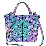 BestoU Damen Handtaschen Gitter Design Geometrische Leuchtende Tasche Schwarz PU-Leder Einzigartige...