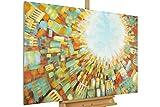 KunstLoft® Acryl Gemälde 'Light from Above' 120x80cm | original handgemalte Leinwand Bilder XXL | Abstrakte braune Skyline auf Blau & Bunt gemalt | Wandbild Acrylbild moderne Kunst mit Rahmen