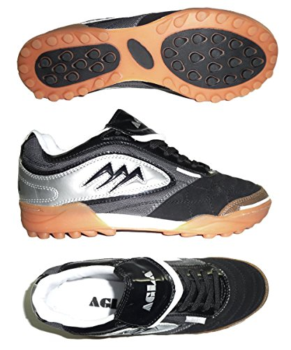 AGLA PROFESSIONAL TURF OUTDOOR BLACK/SILVER scarpe calcetto calcio a 5 futsal (41, BLACK SILVER GREY)