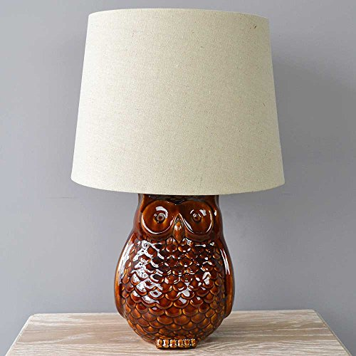 honey-brown-reactive-glaze-owl-table-lamp-with-textured-shade-light-lighting-bedside