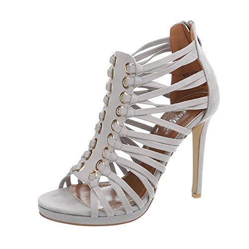 High Heel e Plateau Scarpe da Donna con Tacco Alto e Plateau Pfennig-/Stilettoabsatz Sandali Tacchi Alti Zip ITAL Design & Sandaletten, Grigio (Grau NE02P), 38