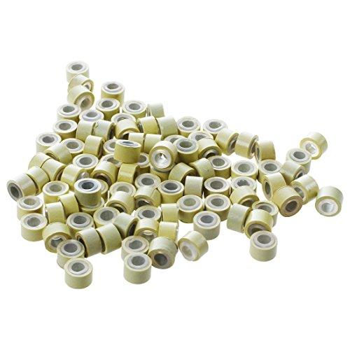 anneaux pour l'Extensions de cheveux - TOOGOO(R) 100 x micro anneaux en silicone L'outil d'Extensions pour cheveux plumes Beige