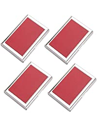 AmtiQ High Quality Stianless Steel & Synthetic Leather Red (Pack Of 4) ATM Card Holder