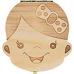 Sannysis Caja de almacenamiento de madera para Dientes de leche (Niñas (Español))