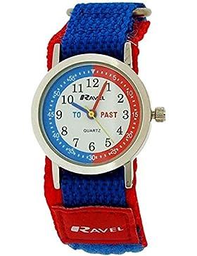 Ravel Jungen Zeitlernuhr blau/rotes Nylonklettarmband R1507.55