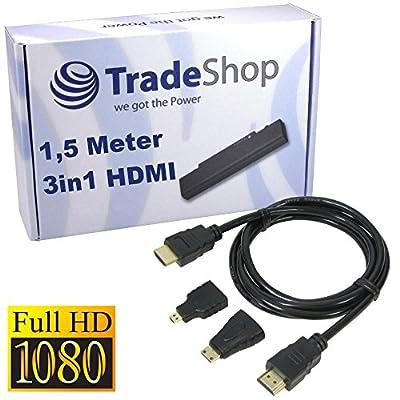 3in1 HDMI Adapter Set mit Mini- & Micro-HDMI Stecker für Lenovo Ideapad MIIX 10 A1000 K3011 S2 S2109 Miix 2 10 11 ThinkPad 2 8 10 Vodafone Smart Tab 2 3 Yoga Tablet 2 10 13 LG Optimus 3D Pad Speed