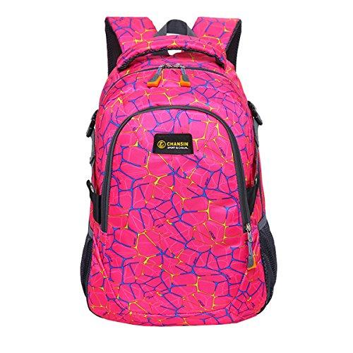 Super Modern Unisex Nylon Schule Rucksack Laptop Tasche für Teen Mädchen und Jungen Cool Spider Grid Sport Rucksack Outdoor Tasche Reise Rucksack für Männer und Frauen Größe L rot (Spider-laptop-tasche)