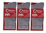 #8: Footprints ORGANIC Cotton Men Sports Full length Athletic Cushion socks - 3 PAIRS - Grey