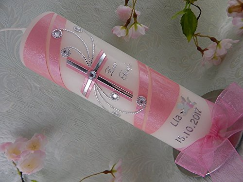 Taufkerze Kreuz silber rosa glitzer handmade modern Taufkerzen für Mädchen 250/70 mm personalisiert