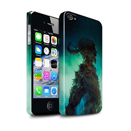 Offiziell Chris Cold Hülle / Glanz Snap-On Case für Apple iPhone 4/4S / Dunkelste Stunde Muster / Dämonisches Tier Kollektion Gehörnter Dämon
