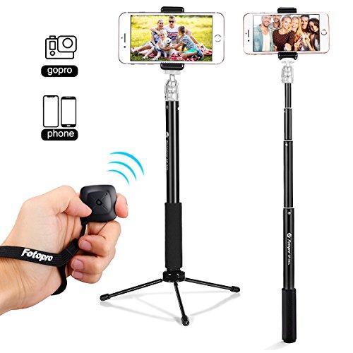 Fotopro Bluetooth Selfiestick Stativ, 2 In 1 Selfie Stick mit Fernauslöser, Wireless Selfie Stange, Erweiterbar Monopod für iPhone Samsung Huawei Xiaomi und Action Cam