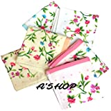 #9: A'SHOP Supreme Quality Super Soft Beautiful Thick Towel Colorful Handkerchiefs with Colourful Beautiful Floral Work, Multicoloured Bordered sides & Coloured base Beautifully designed Hankies for Girls, Kids, Women(Pack of 6)