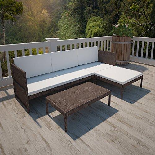 Anself Rattan Lounge Set Loungemöbel Loungeset Loungegruppe 3-Sitzer mit Kissen 2 Farbe Optional