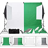 OUBO - Fotostudio Set Studioleuchte Studiosets 2x50*70CM Softbox Set mit 4x intergrundstoff 1.6mx3m (grau wei�*2 gr�n) Hintergrundsystem?2x3m? 2x LED Fotolampe 3x Studioklemmern Tragtasche Bild