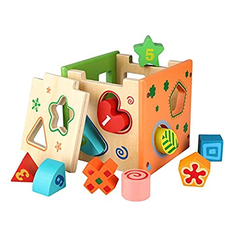 Peradix Wooden Shape Sorter Preschool Educational Toy Color Shape Recognition