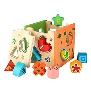 Peradix Cubo Legno per Selezione Forme Giocattolo Educativo Stimolante