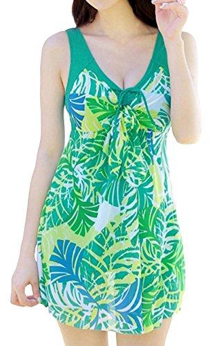 wantdo-womens-one-piece-swimsuit-plus-size-swimwear-cover-up-tankinis-green-banana-16-18