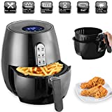 D&F Friggitrice ad Aria Calda,Air Fryer con 7 Programmi,Funzione Keep Warm,LED Touch Screen,Tempo Temperatura Regolabili,Ricette,1350 W,5,5L Nero