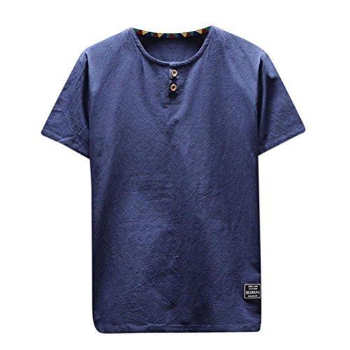 OSYARD Herren Sommer Mode Bettwäsche und Baumwollmischung Tops O Shape T-Shirt Freizeit Kurzarm Bluse Tops