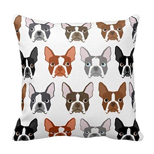 fashion pillow case Boston Terrier Kissen Fall 1818Cute Farben Boston Terrier 18*18 Cc-01 (Boston Terrier Kissen)