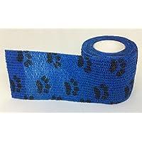 5cm garza elastica in blu scuro con stampa zampa nera x 4rotoli ideali per equitazione, piccoli animali e generale reggiatura sostegno