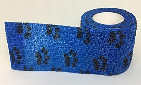 5cm Haftbandage in dunkel blau mit schwarzem Pfotendruck X 4Rollen