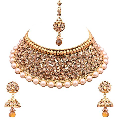 Sitashi Multi-Colour Gold-Plated Kundan Necklace Set For Women
