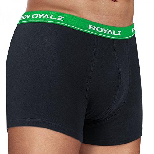 ROYALZ Unterhosen Herren Boxershorts 10er Set klassisch für Sport und Freizeit, 10er Pack (95% Baumwolle / 5% Elasthan) 10 x Schwarz / Bund - Grün