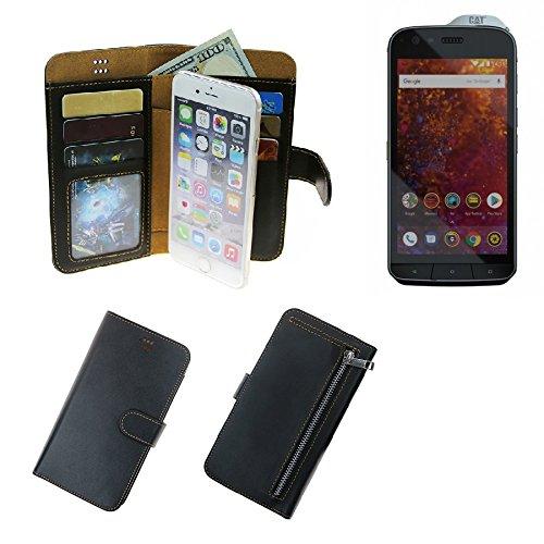 K-S-Trade Caterpillar Cat S61 Schutz Hülle Portemonnaie Case Phone Cover Slim Klapphülle Handytasche Schutzhülle Handyhülle schwarz aus Kunstleder (1 STK)
