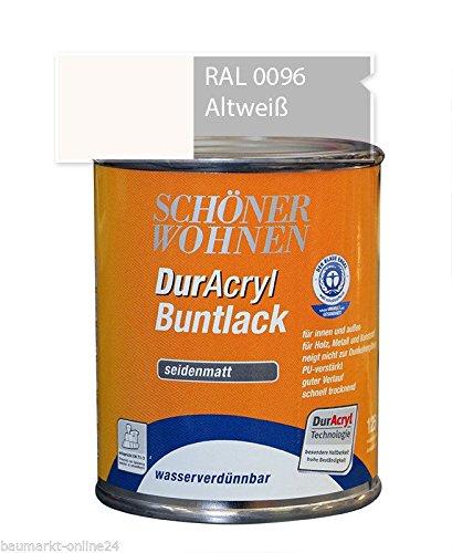 Schöner Wohnen DurAcryl Buntlack seidenmatt wasserverdünnbar Altweiß 0096