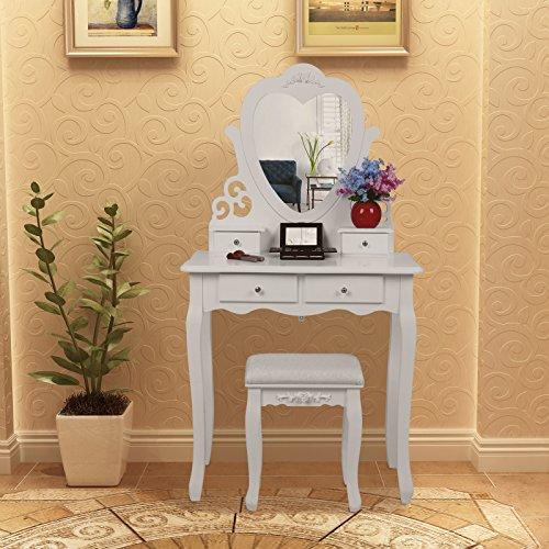 Songmics herzförmigen Spiegel Schminktisch mit Hocker und 4 Schubladen, inkl. 2 Stück Unterteiler, Kippsicherung, weiß 75 x 138 x 40 cm (B x H x T) RDT14W - 4