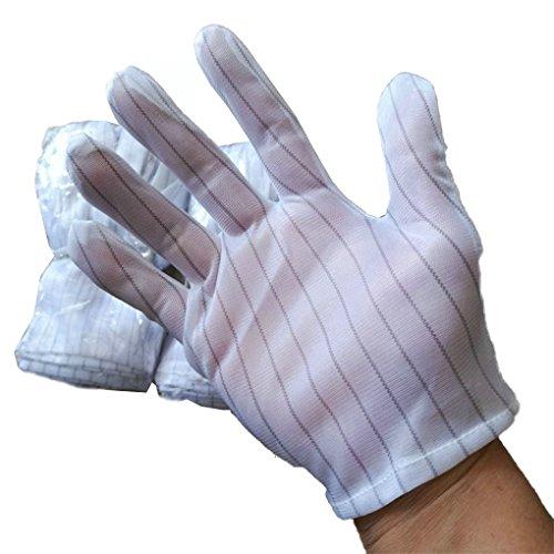 LUFA 5 Paar Weiße Streifen Antistatische Arbeitshandschuhe Anti-Rutsch-Elektrostatische Handschuhe für PC Computer Working Repairing Farm Etc