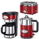 Russell Hobbs Frühstück-Set 3-tlg. Kaffeemaschine + Wasserkocher + 4 Scheiben Toaster Retro Ribbon Red Serie in rot/Edelstahl