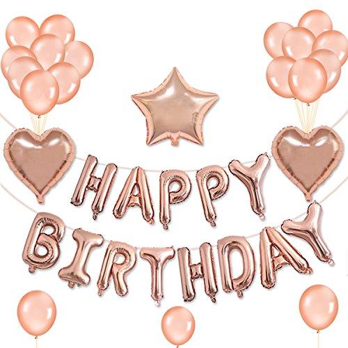 ZhengYue Geburtstag Dekoration Happy Birthday Girlande mit Luftballons Latexballons und Pom Poms Papierblume für Geburtstag Dekoration - Blau (Rose Gold)