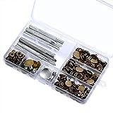 50 Stück Knöpfe Jeans Knopf Snap Fastener Druckknöpfe und 9 Stück Leder Handwerk Werkzeug mit Aufbewahrungsbox