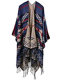 YACUN Damen Offener Poncho Schal Winter Reversible überdimensioniert Decke Quaste Cape Schals