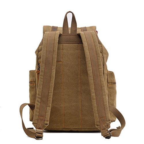 Alando vintage Canvas Rucksack Damen Herren Rucksäcke Retro Schulrucksack Backpack Daypack für Uni, Wandern, Outdoor Sport, freizeit, Einkaufen mit der großen Kapazität (Kaffe) Braun