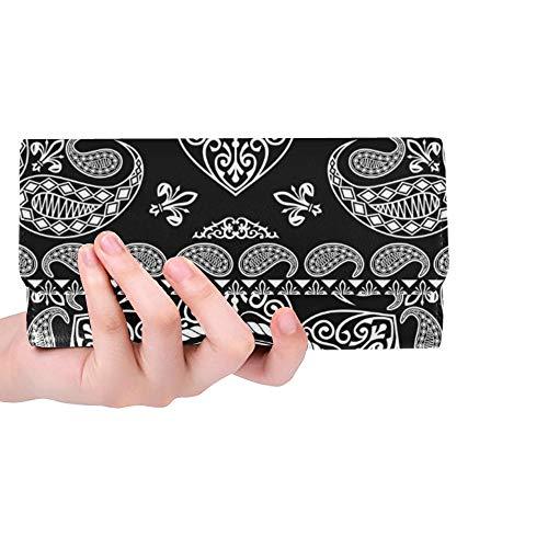 Einzigartige benutzerdefinierte schwarz Bandana Cooles Design Masker Frauen Trifold Wallet Lange Geldbörse Kreditkarteninhaber Fall Handtasche