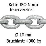 Ankerkette ISO Norm feuerverzinkt lehrenhaltig Ø 10 mm Bruchlast ca 4000 kg