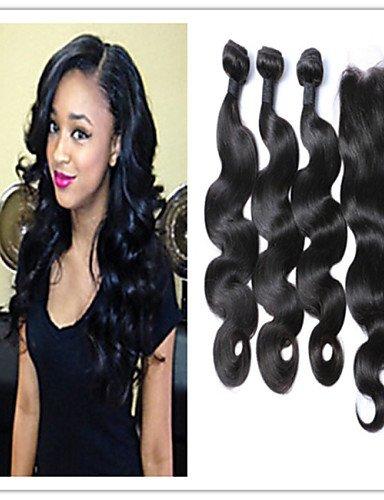Jff/4 pcs/lot meilleure qualité de Malaisie Cheveux naturels vierges Body Wave avec top Lace Closure Cheveux Tissage Extensions de cheveux, 28 30 32 & 26-3 part