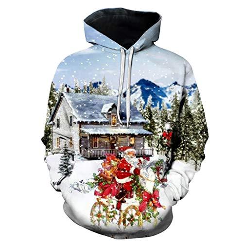 HZ-yifu Unisex Modisch Kühler Kapuzenpulli 3D Printed Reiten Santa Muster Fashion Personality Outwear mit Großen Taschen (Color : Multi-Colored, Size : M) -