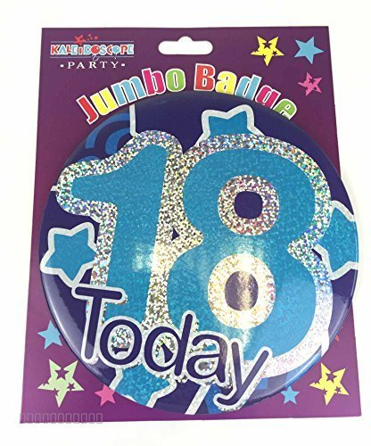 Happy 18th Birthday Badge Age 18 Jumbo Large Boys Mens Blue Party Accessory Gift by Card and Party Store (Birthday Happy Jumbo-karte)