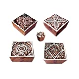 #2: Fabric Print Stamps Crafty Square Floral Shape Wooden Blocks (Set of 5)