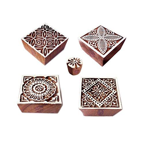 Royal Kraft Stoff Holz Stempel Designer Quadrat Blumen Muster Druck Blöcke (Set von 5)